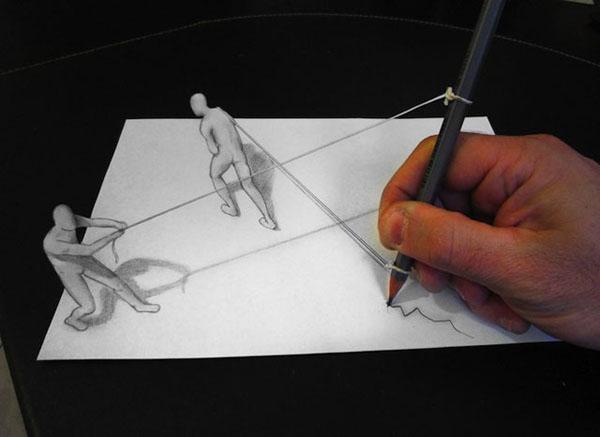 Drawn paper anamorphic illusion / Drawings  Illusion Diddi