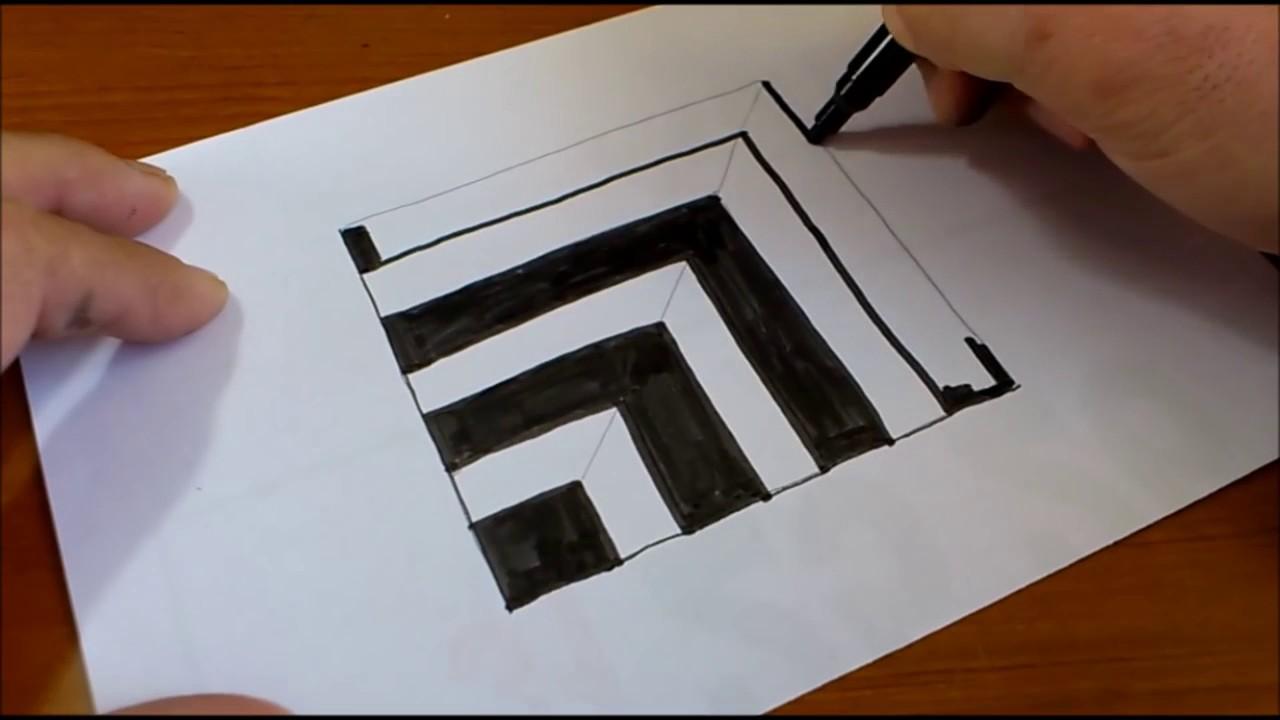 Drawn 3d art paper for kid Illusion 3D Art Draw Kids