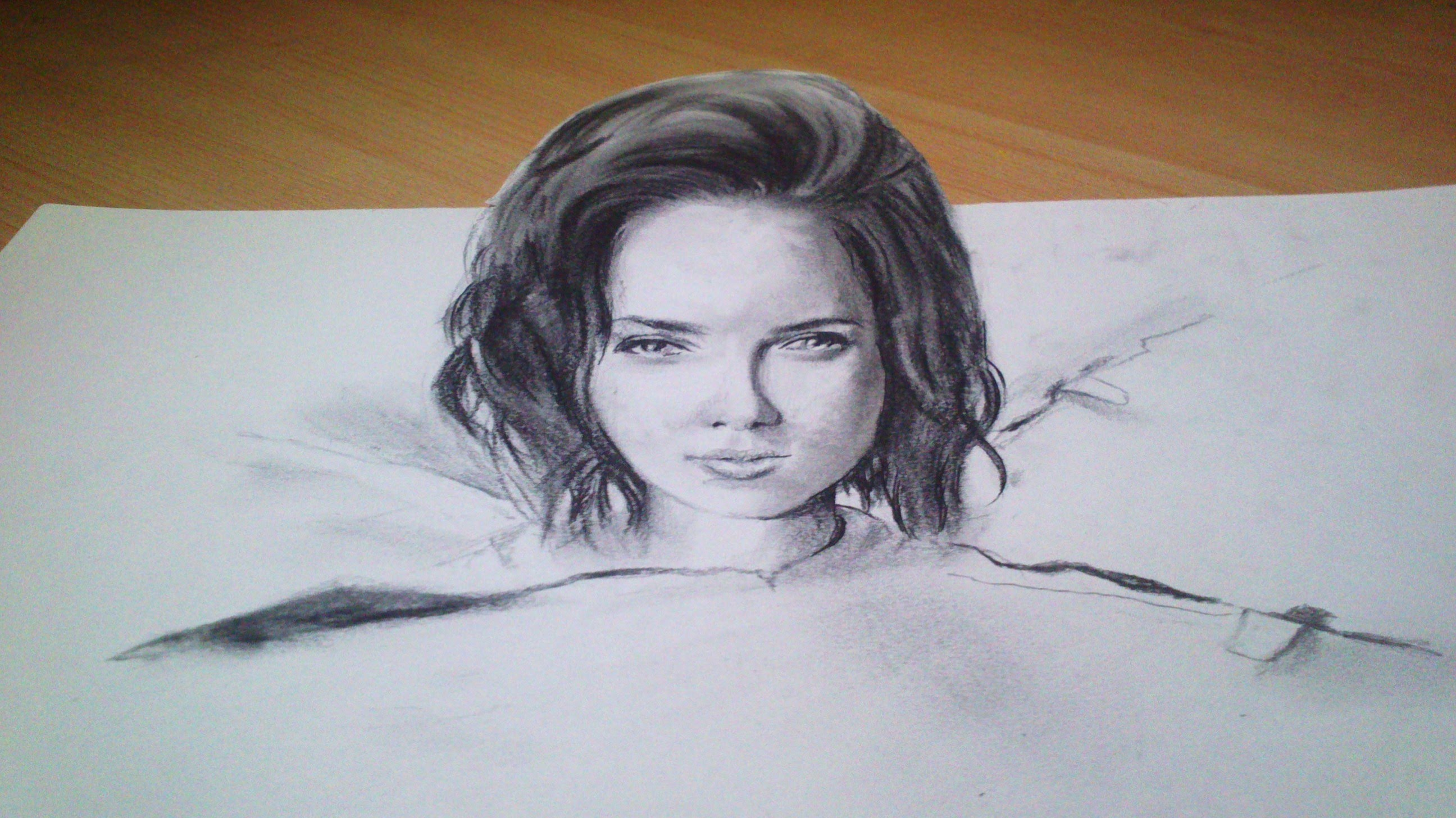Drawn paper anamorphic illusion Face 3D Illusion Drawing 3D