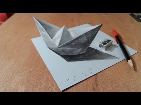 Drawn paper anamorphic illusion YouTube Ship 3D Time a