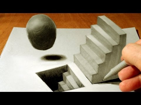 Drawn paper anamorphic illusion Staircase 3D  Drawing ▶