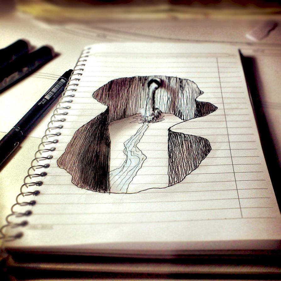 Drawn 3d art cute Drawings 25+ Paper drawings paper