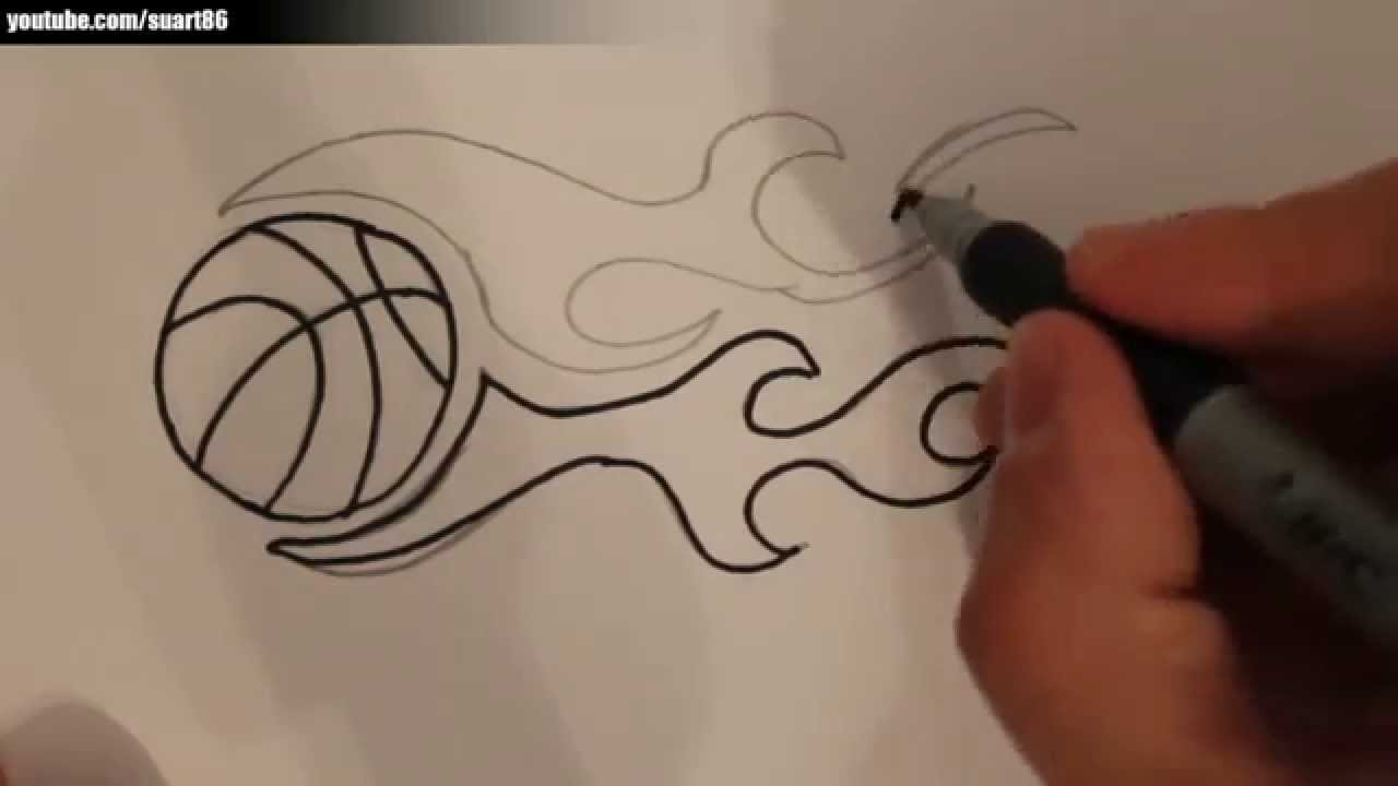 Drawn paper basketball On draw How fire basketball