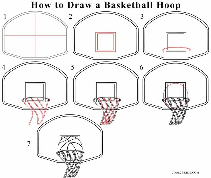Drawn paper basketball Drawing Step hoop to a