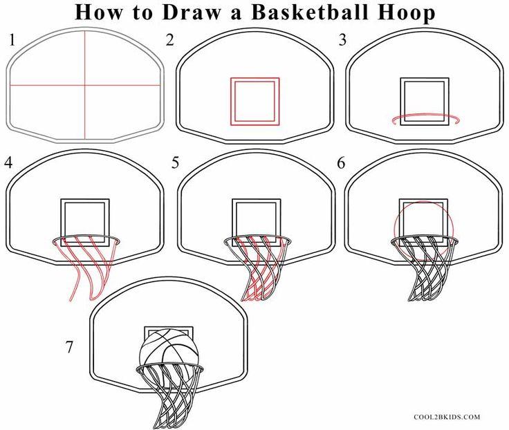 Drawn paper basketball Basketball hoop How with Basketball