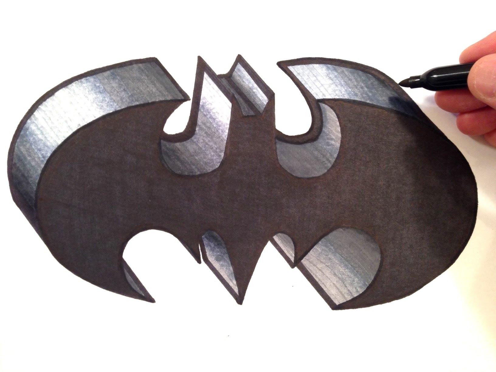 Drawn paper batman  the BATMAN in Logo