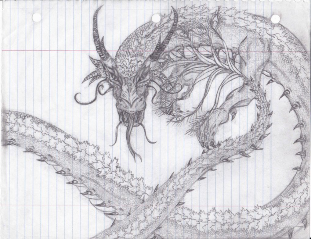 Drawn paper dragon Sketch: Eastern Anyuiite Dragon by