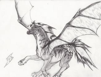 Drawn paper dragon And
