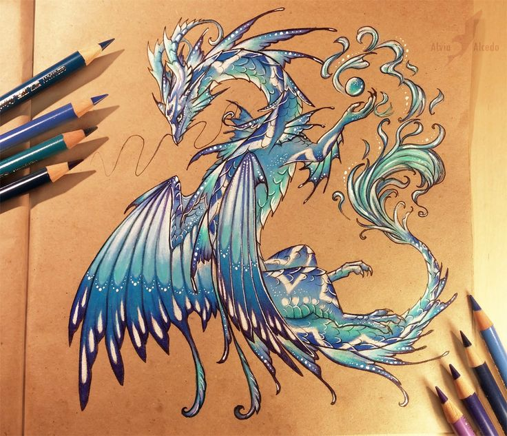 Drawn paper dragon Want Guardian Pencils brown on