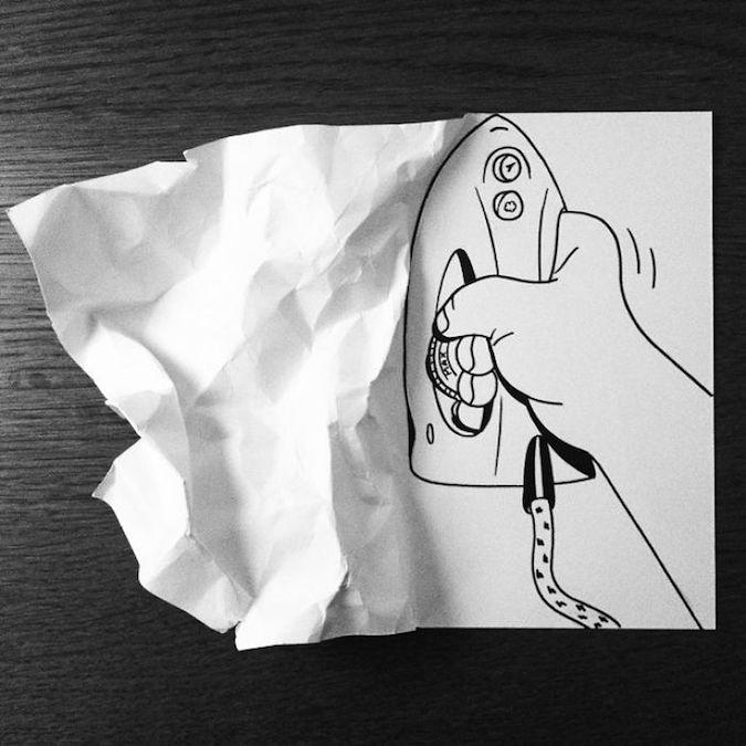 Drawn paper folded paper Folds 3D 2 folding HuskMitNavn