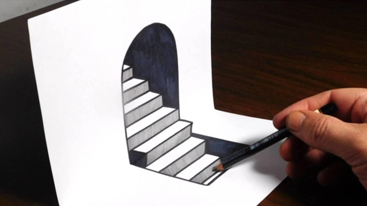 Drawn paper hd 3d Trick Steps Trick 3D Art