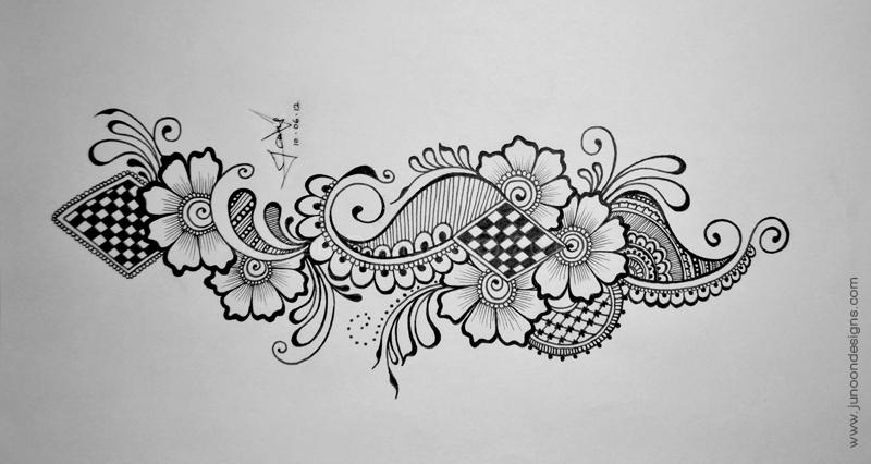 Drawn paper henna design Junoon II Designs Tutorial Junoon