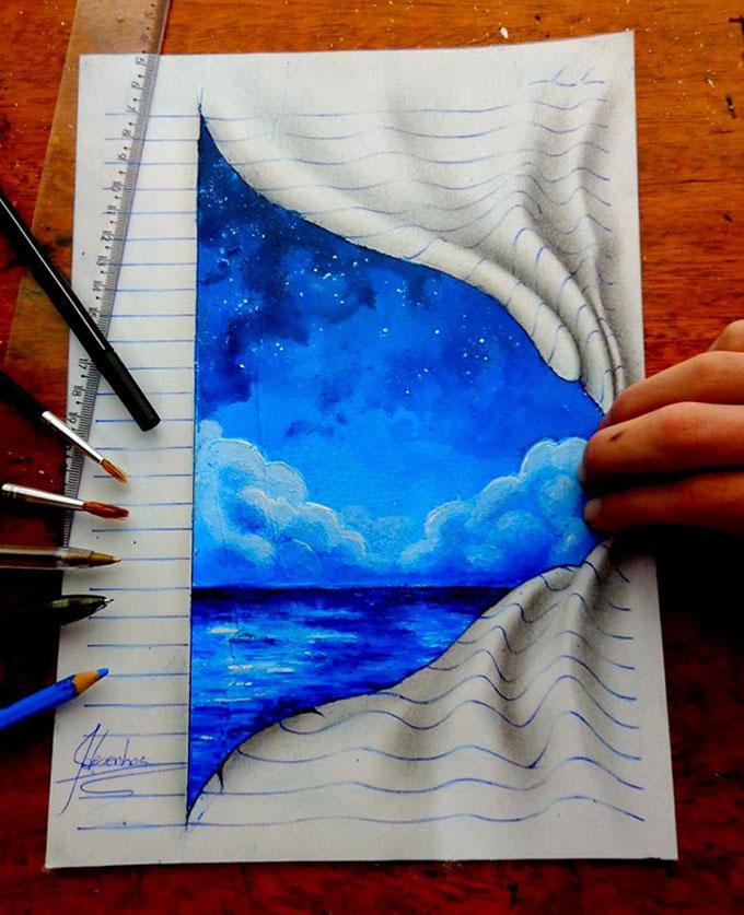 Drawn paper looks 3d #10