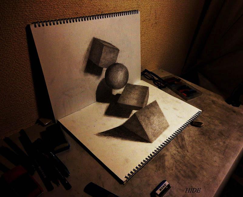 Drawn paper mind blowing To 3D shapes Pencil Hideyuki