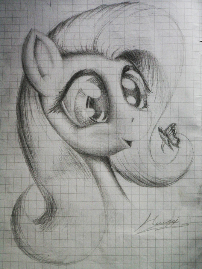 Drawn paper mlp Fluttershy Huussii on by Huussii