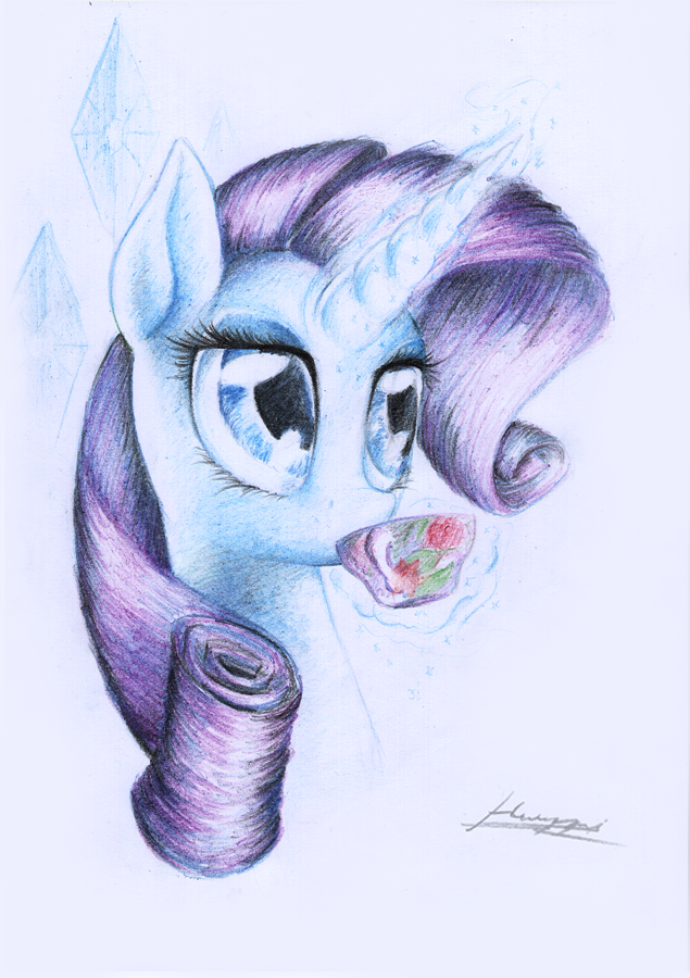 Drawn paper mlp Rarity Huussii on by Huussii