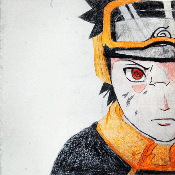 Drawn paper naruto Done My pencil with colour