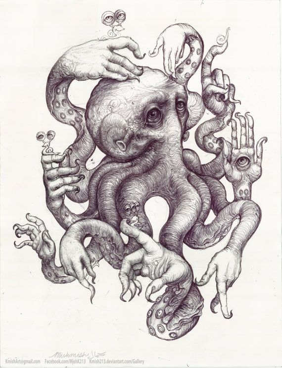 Drawn paper octopus About Mishmish Tentacles and images