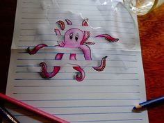 Drawn paper octopus Paper Google Illusion 15 Lined