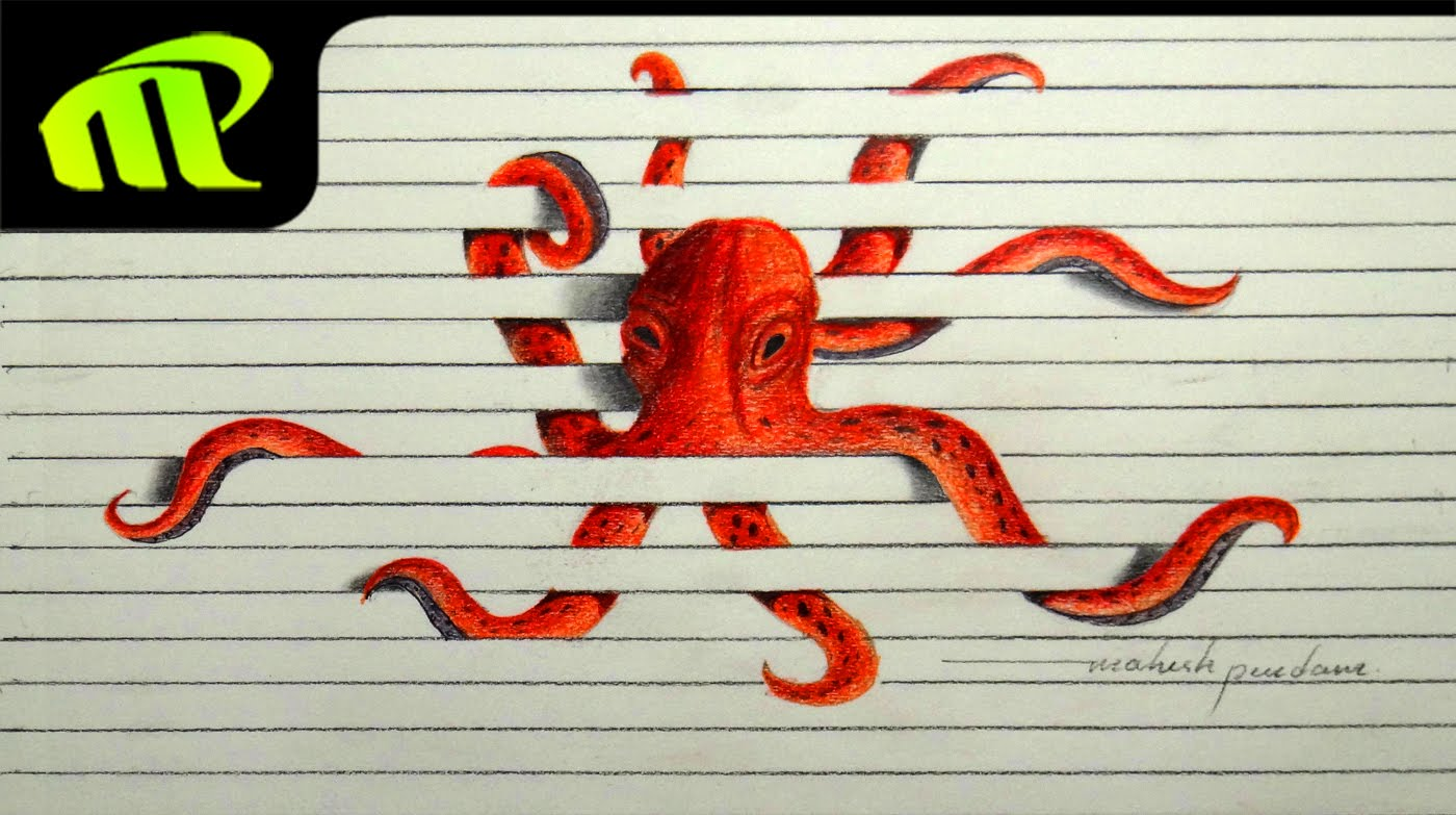 Drawn paper octopus Octopus Time 3D Unsubscribe Trick