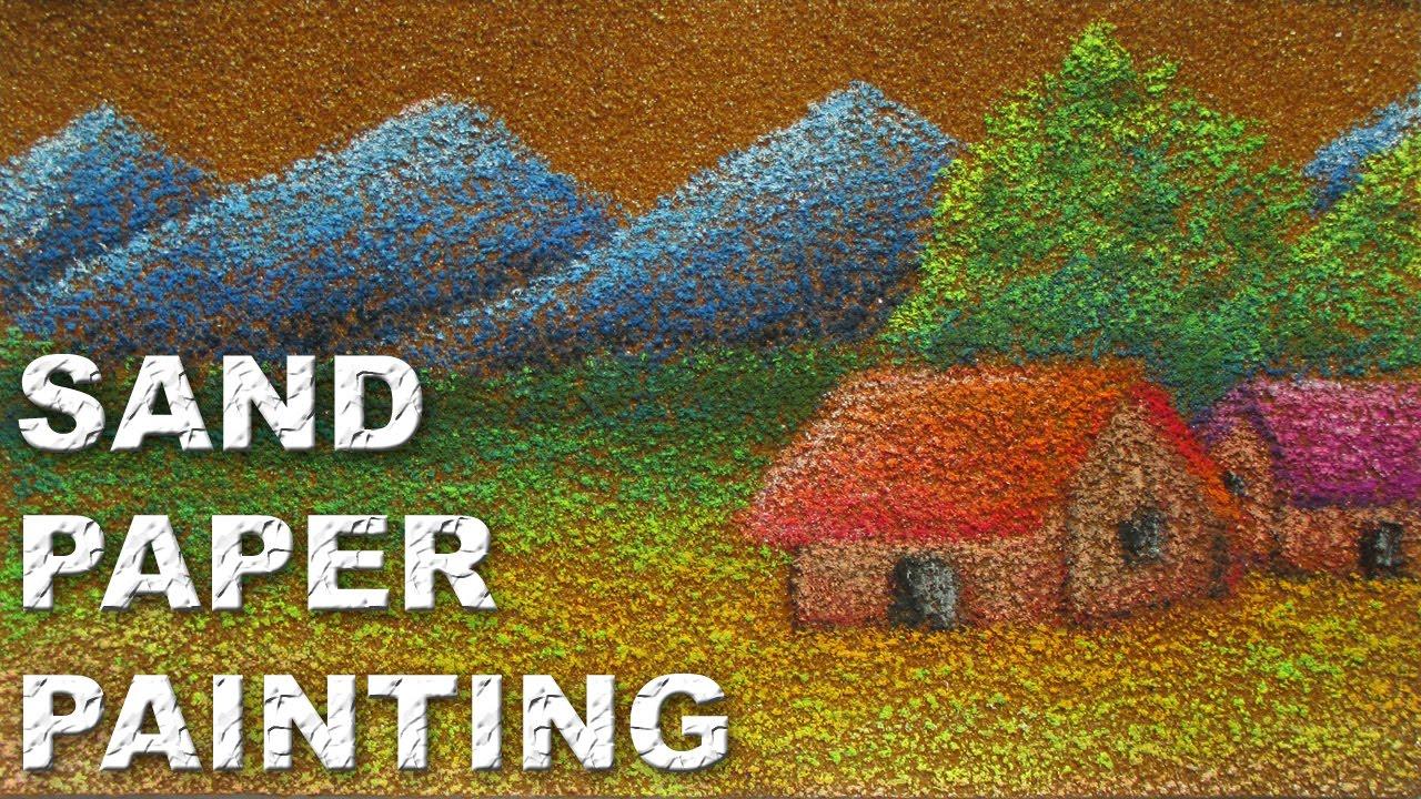 Drawn paper painting A Paper Landscape Pastels Oil