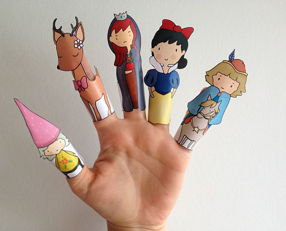 Drawn paper printable Paper Finger Puppets White Puppets