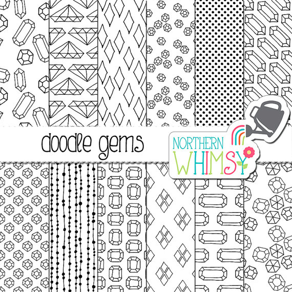 Drawn paper printable Gems