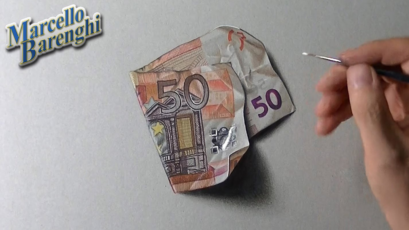 Drawn paper realistic Of of drawing a euro