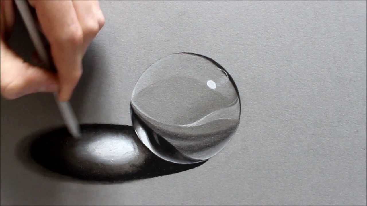 Drawn spheric glass ball Central realistic like Crystal Ed