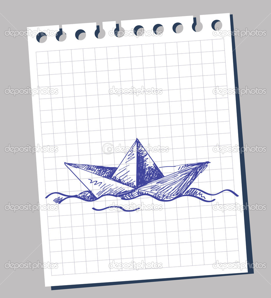 Drawn paper ship #5