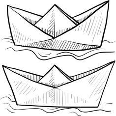 Drawn paper ship #4