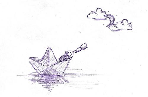 Drawn paper ship #6