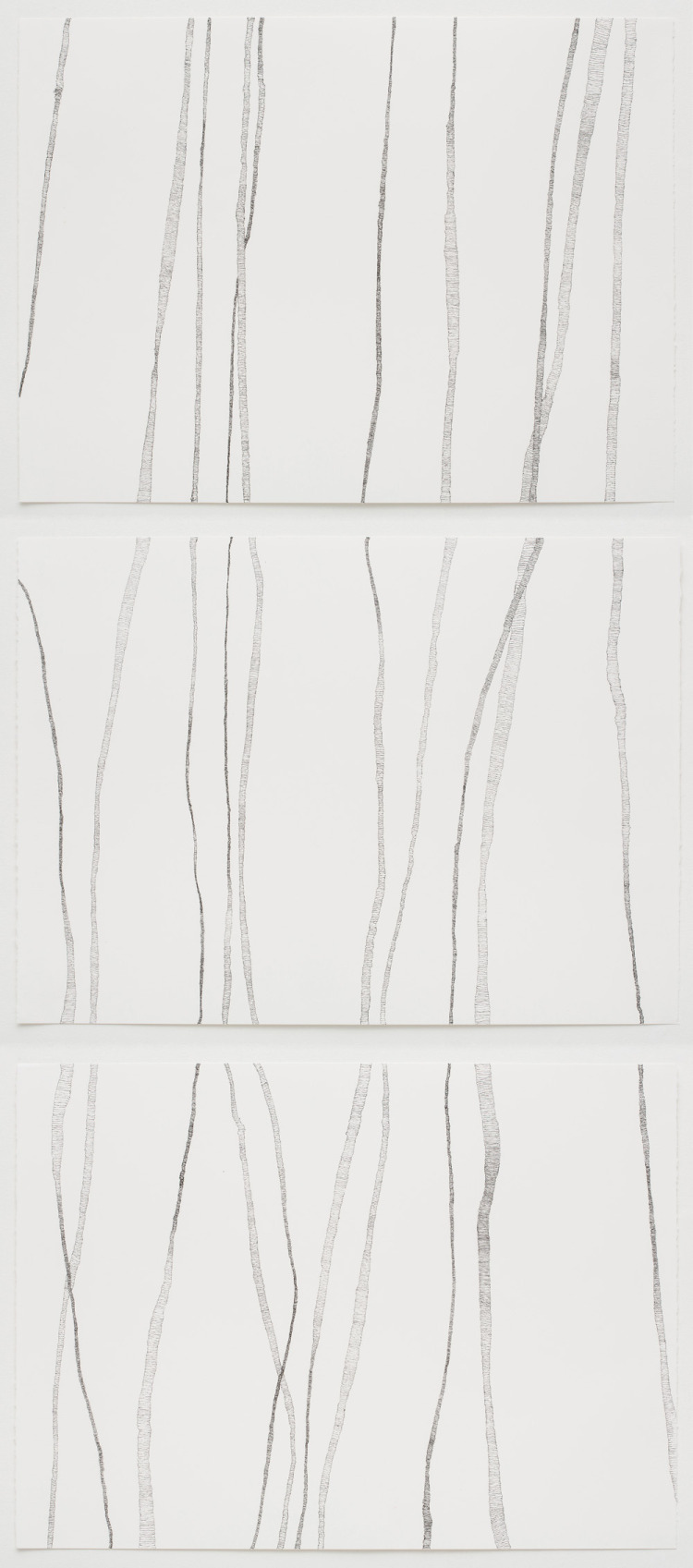 Drawn paper three Lines (triptych) Brenda Drawn on