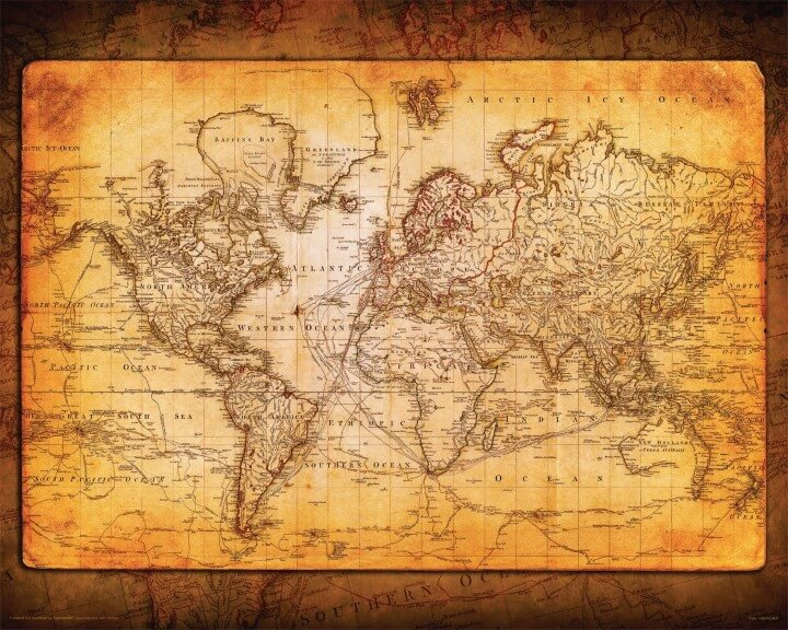 Drawn paper world's good Catching Old Decorative Map Map