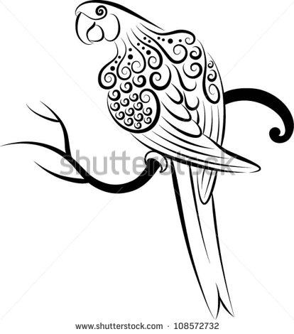 Drawn parakeet tattoos Vector Parrot (Parrot) ornament Bird