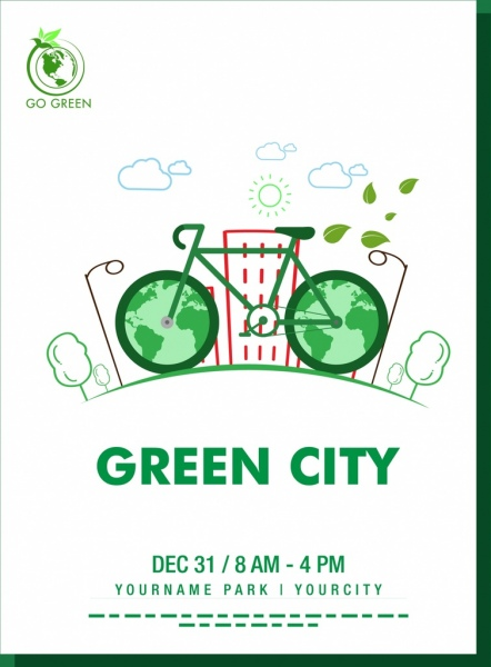 Drawn park go green Bicycle banner vector hand Green