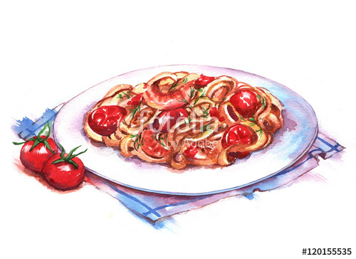 Drawn pasta Pasta of drawing plate watercolor
