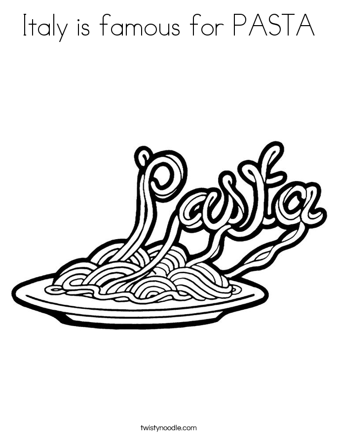 Drawn pasta Page Coloring PASTA Italy Coloring