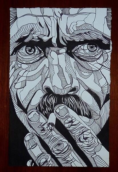 Drawn portrait geometric Interpret drawing Untitled 2011 Best