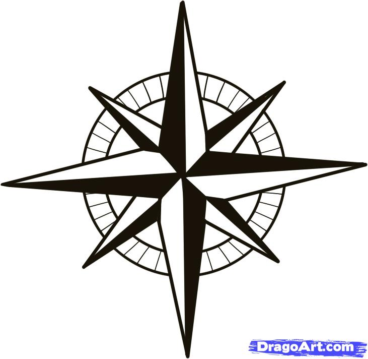 Drawn stars nautical A to compass  compass