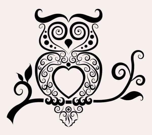Drawn owl pattern #1
