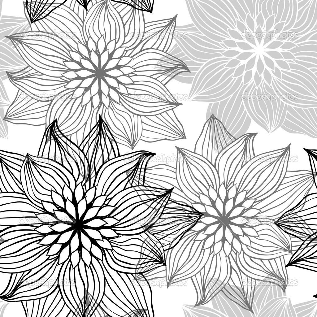 Drawn rose pattern Illustration Seamless hand flowers Illustration: