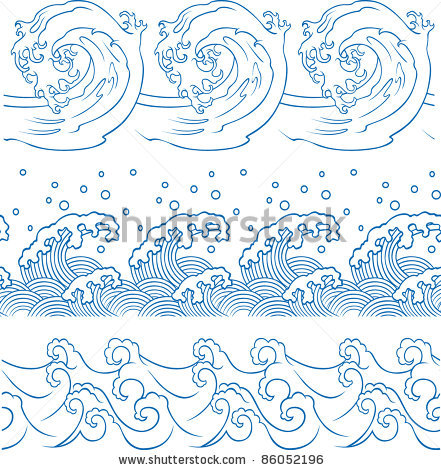 Drawn sea ocean wave To a to Ocean to