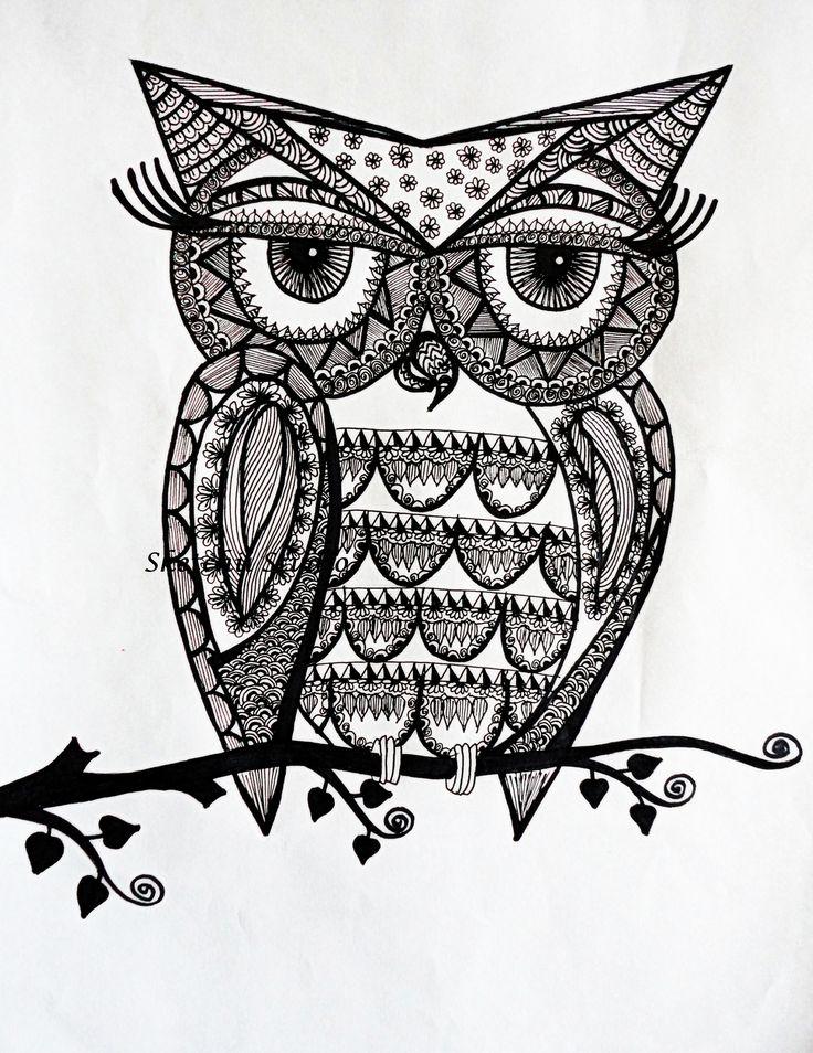 Drawn owl pattern #11