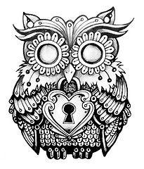 Drawn owl pattern #2