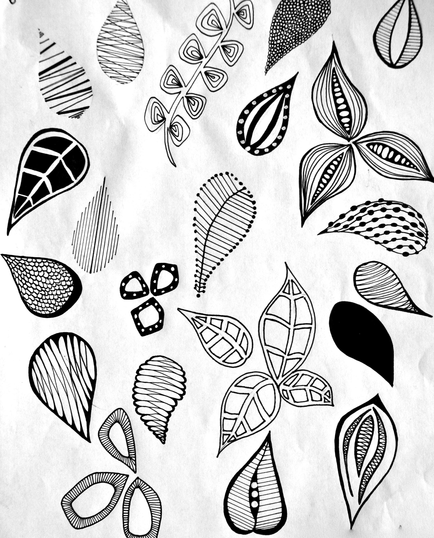 Drawn leaves pattern Motifs making drawn  pattern