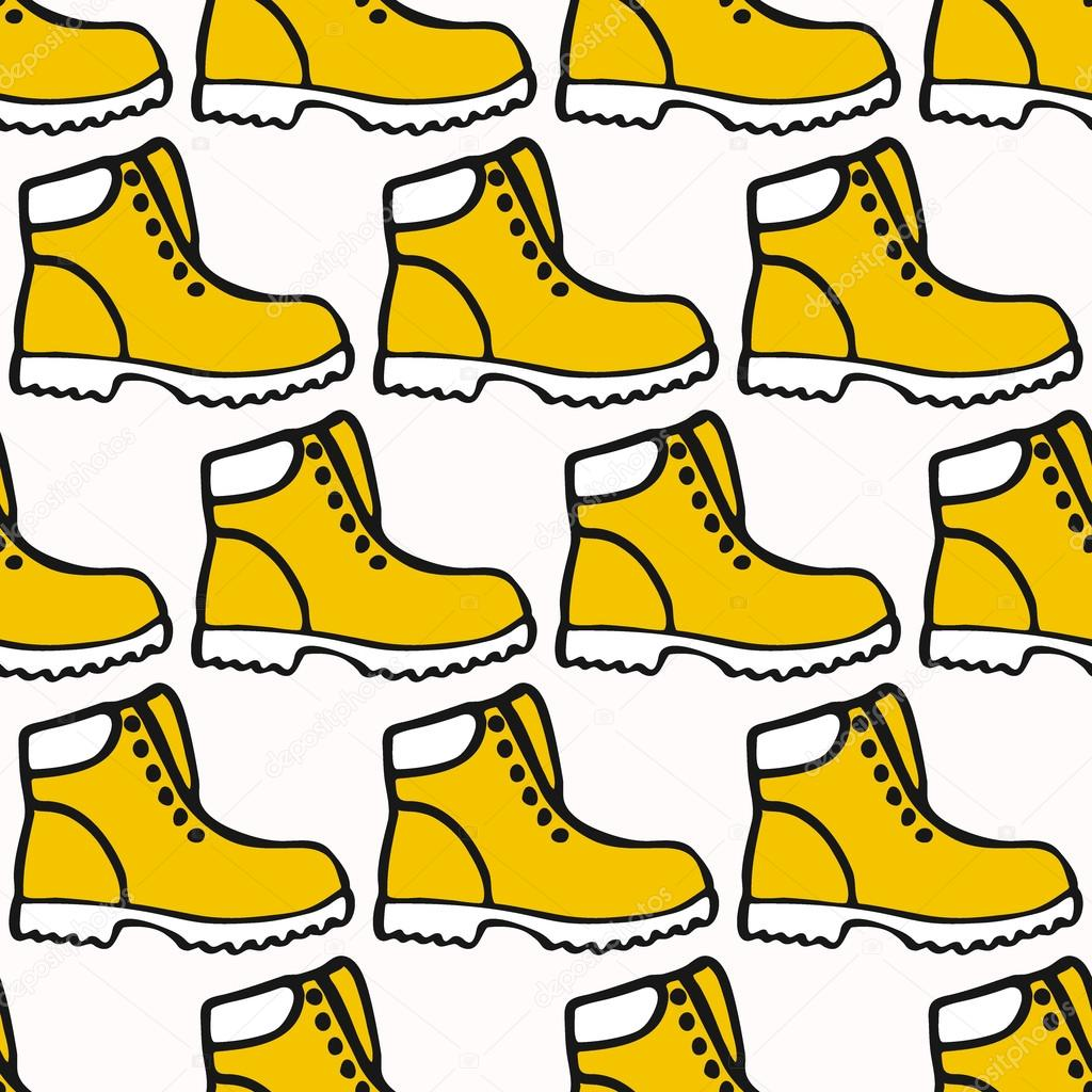 Drawn shoe cartoon Cartoon pattern seamless  Vector