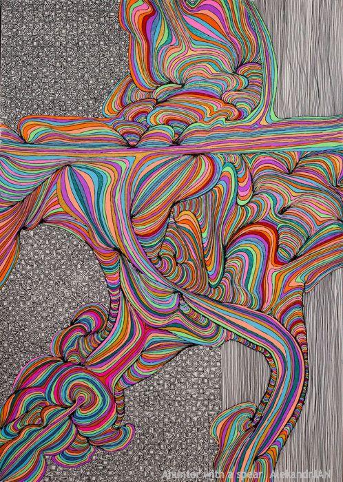 Drawn rabbit psychadelic Flow on ideas Doodle ~