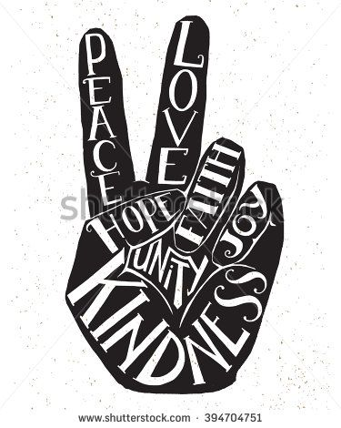 Drawn poster art quote Peace Peace fingers with two