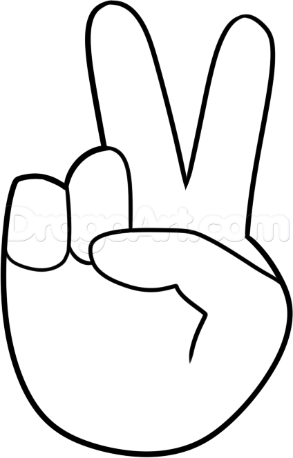 Drawn peace sign 60's Step Draw to peace fingers
